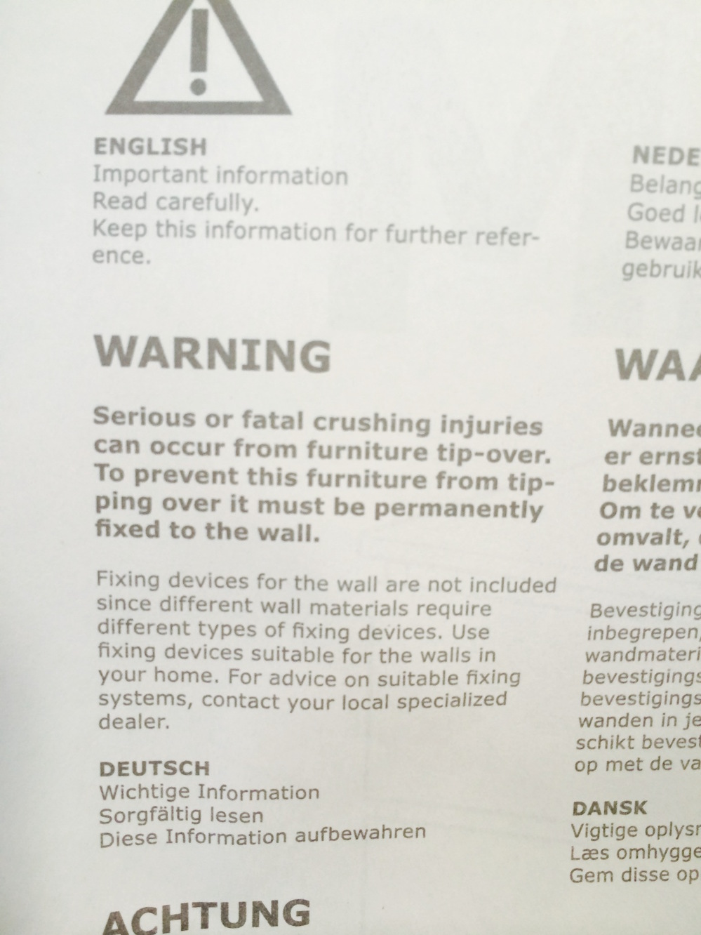 IKEA MALM instruction warning tip-over